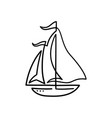 one line sea doodle ship isolated vector image
