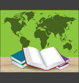 open book with green world map vector image