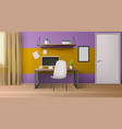 room interior workplace with desk seat and pc vector image vector image