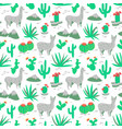 seamless pattern with alpaca and cactus vector image vector image