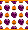 seamless pattern with halloween pumpkin and skull vector image vector image