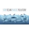 stop ocean plastic pollution plastic garbage bag vector image