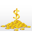 Symbol of Gold Dollar with coins vector image