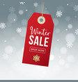 winter sale poster template hanging red gift tag vector image