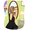 woman applying lipstick looking at mirror vector image vector image