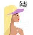 woman in a beach swimsuit sunbathing on the beach vector image