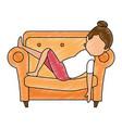 woman sleeping on sofa vector image