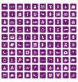 100 gift icons set grunge purple vector image vector image