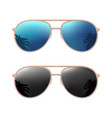 Aviator modern sunglasses with palms reflection