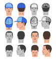 baseball tennis rap cap and man head set vector image