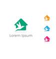 bird logo design pigeon in home vector image vector image