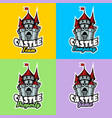 castle logo set for team company property and game vector image vector image