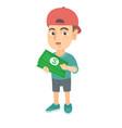 caucasian boy in a cap holding money in hands vector image vector image