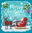 christmas sleigh with santa xmas gifts and deer vector image