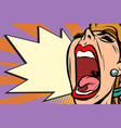 close-up face pop art woman screaming rage vector image vector image