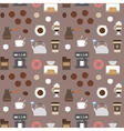 Coffee flat icons seamless pattern 2 vector image vector image