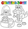 coloring book with various cats 1 vector image