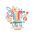 crete island logo template original design exotic vector image vector image