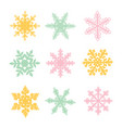 different color snowflakes on a white background vector image vector image