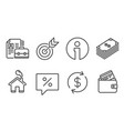 dollar discount message and usd exchange icons vector image