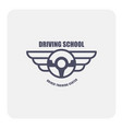 driving school emblem - winged steering wheel vector image vector image
