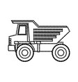 dump truck flat icon monochrome dotted silhouette vector image vector image