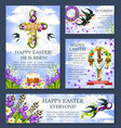 easter cross with flower banner or poster template vector image vector image