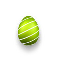 easter egg 3d icon green striped egg isolated vector image