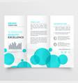 elegant creative blue circles tri fold brochure vector image vector image