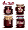 fig jam in glass jars vector image vector image
