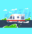 flat hospital car fast driving is in a hurry vector image