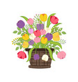 flowers in basket vector image vector image