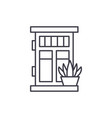 front door with plant line icon concept front vector image vector image