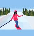 girl snowboarder sliding down taking selfie photo vector image