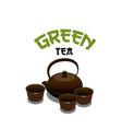 green tea pot icon for japanese cuisine vector image