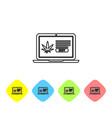 grey line laptop and medical marijuana or cannabis vector image vector image