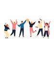 group of young joyful people with champion cup vector image vector image