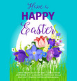 happy easter egg greeting poster design vector image vector image