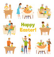 happy easter family set vector image vector image