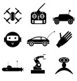 hi-tech modern technology toys simple black icons vector image