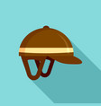 horseback riding helmet icon flat style vector image vector image
