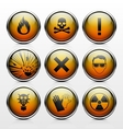 Icons with signs warning of the dangers vector image