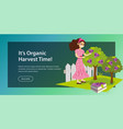 its organic harvest time flat horizontal banner vector image vector image