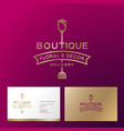 logo rose boutique home decor business card vector image vector image
