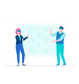 man and woman in vr glasses - flat design style vector image