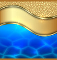 metallic gold water and foam decorative background vector image vector image