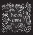 mexican food hand drawn doodle chalkboard vector image vector image