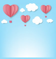 paper hearts with cloud blue background vector image
