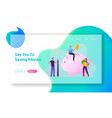 people collecting and saving money website landing vector image vector image