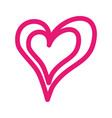 pink linear heart love romance passion vector image vector image